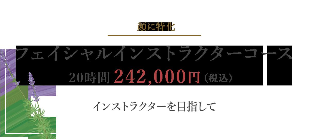 フェイシャルインストラクターコース24時間 205,200円(税別)